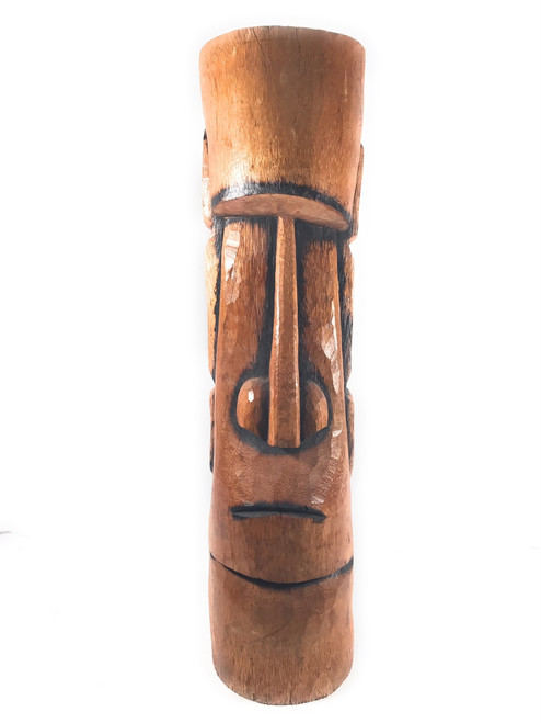 "Easter Island Tiki Totem 40"" - Burnt Finish - Outdoor Tiki Decor 