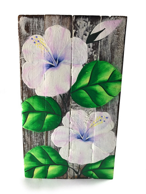 "Hibiscus Flower Painting on Wood Planks 8"" X 4.5"" Rustic Wall Decor 
