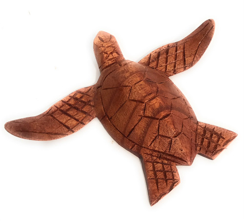 """Carved Hawaiian Sea Turtle Honu 6"""" Stained - Hand Carved 