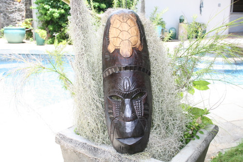 "FIJIAN TIKI MASK W/ TURTLE - 20"" WINNER TIKI - HAWAIIAN DECOR"