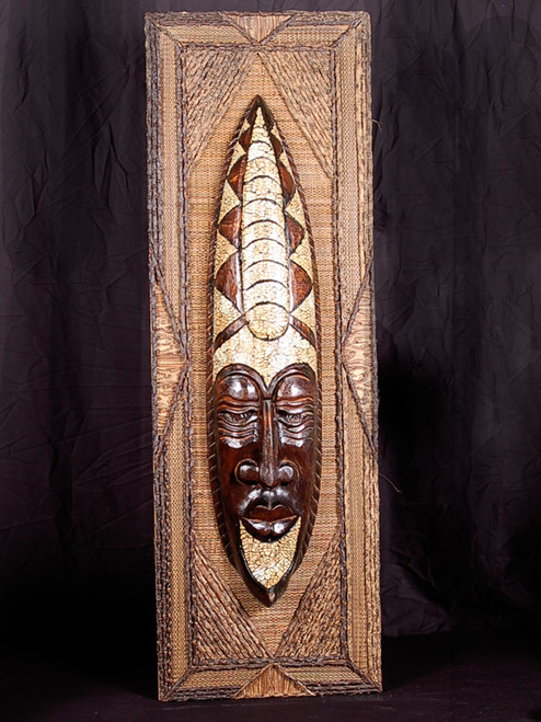 "ULTIMATE PRIMITIVE WARRIOR FRAMED TIKI - 20"" X 45"" - TROPICAL HOME DECOR"