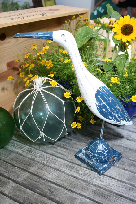 """EGRET BIRD"" - RUSTIC BLUE COASTAL 14"" - GARDEN/HOME DECOR 2"