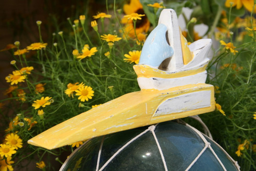 """SAIL BOAT"" DOOR STOPPER 4"" YELLOW - NAUTICAL DECOR"