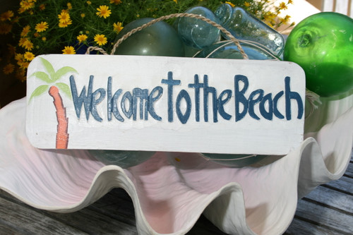"""WELCOME TO THE BEACH"" W/ PALM - SIGN 14"" - RUSTIC WHITE & BLUE - NAUTICAL DECOR"