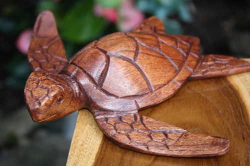 "Carved Hawaiian Sea Turtle Honu 8"" Stained - Hand Carved 