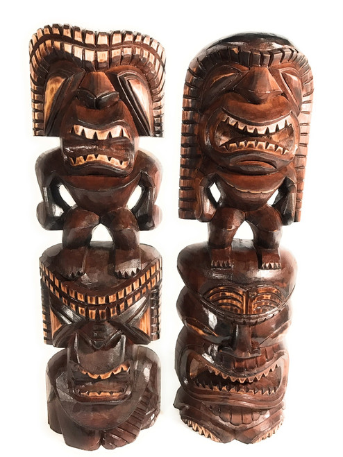 "Set of 2 Tiki Statues 24"" - Hawaiian Hand Carved Sculptures 