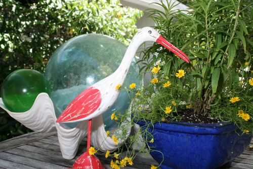 """EGRET BIRD"" - RUSTIC RED COASTAL 14"" - GARDEN/HOME DECOR"