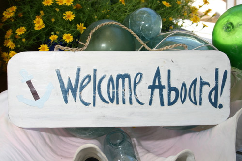 """""""WELCOME ABOARD"""" W/ ANCHOR - SIGN 14"""" - RUSTIC WHITE & BLUE - NAUTICAL DECOR"""