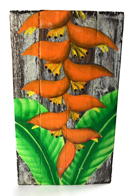 """Heliconia Flower Painting on Wood Planks 8"""" X 4.5"""" Rustic Wall Decor 