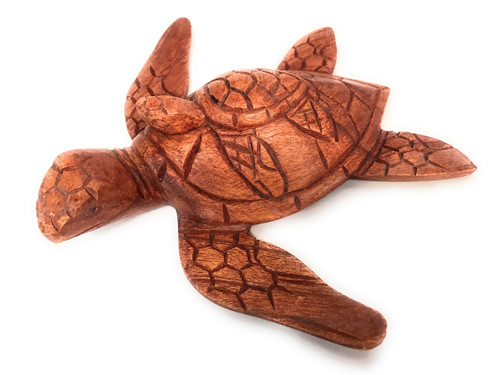 """Carved Sea Turtle w/ baby honu 8"""" Stained - Hand Carved 