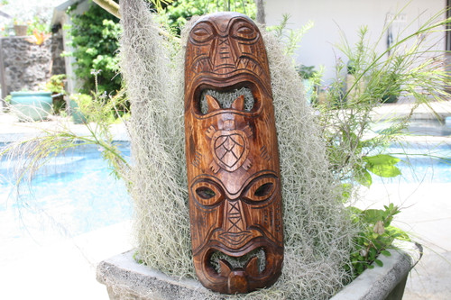 "FIJIAN TIKI MASK W/ CARVED TURTLE - 20"" STRENGTH & ABUNDANCE"