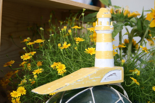 """LIGHTHOUSE"" DOOR STOPPER 4"" YELLOW - NAUTICAL DECOR"