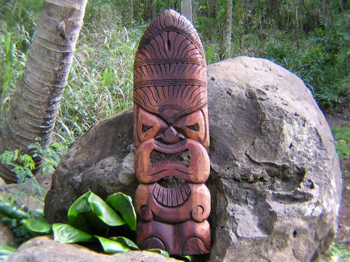 "Kanaloa Tiki Mask 40""- Hand Carved Hawaii 