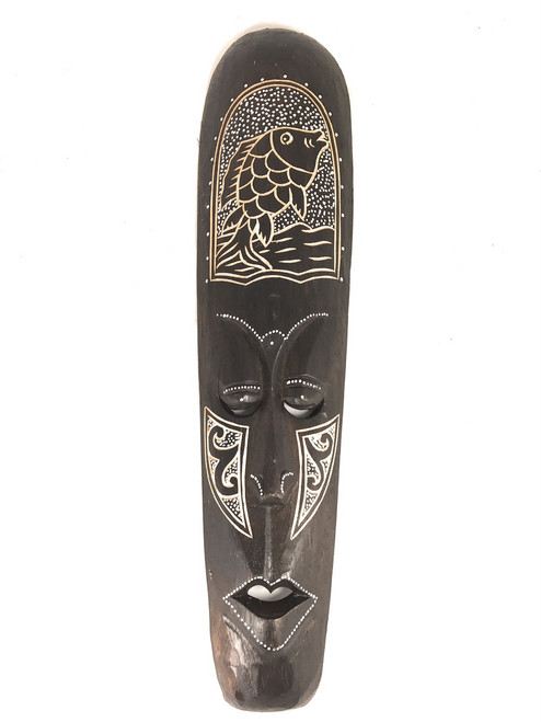 "Tribal Chief Tiki Mask 20"" w/ Fish - Primitive Art 