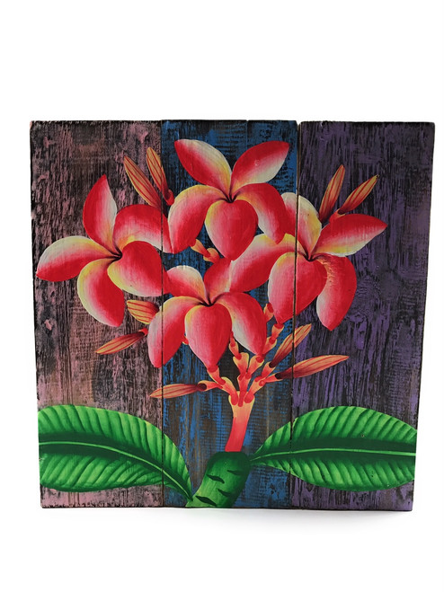 "Plumeria Flower Painting on Wood Planks 12"" X 12"" Rustic Wall Decor 