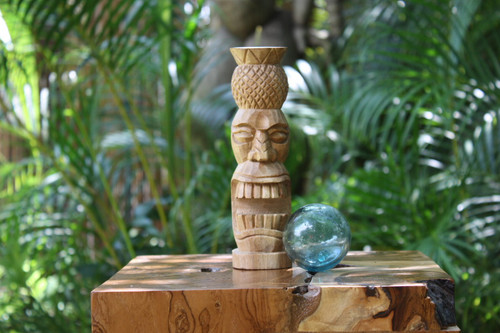 "Pineapple Tiki Totem 8"" Natural - Hawaiian Tiki Bar Decor"