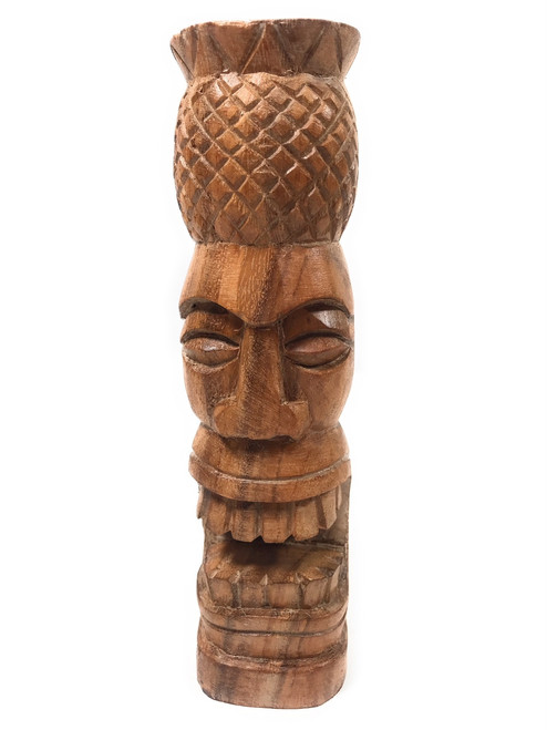 "Pineapple Tiki Totem 8"" Natural - Hawaiian Tiki Bar Decor 