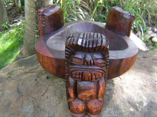 "Scorpion Tiki Bowl 12"" Stained - Wooden Hand Carved"