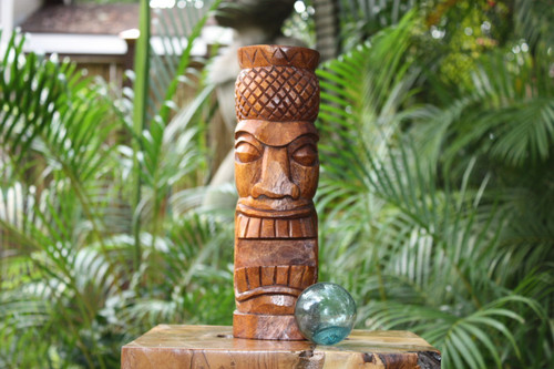 "Pineapple Tiki Totem 12"" Stained - Tropical Decor"