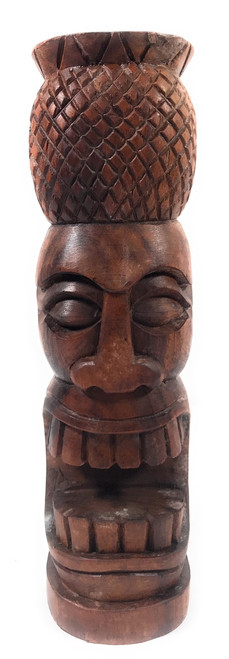 "Pineapple Tiki Totem 12"" Stained - Hospitality Tiki 