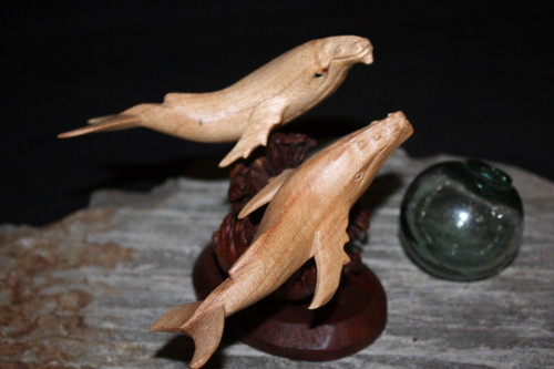 "Swimming Humpback Whales w/ Driftwood Base 6"" X 7"" - Carved 