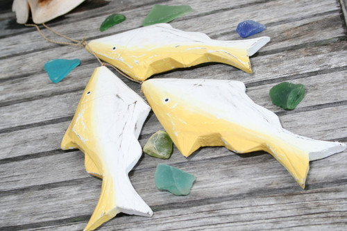"HANGING ""FISH"" SET OF 3 - YELLOW COASTAL - NAUTICAL DECOR"