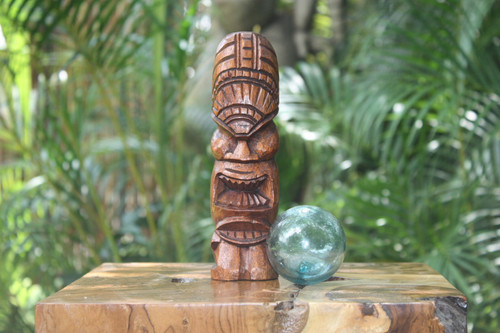 "Love Tiki Totem 8"" Stained - Hawaiian Tiki Bar Decor"
