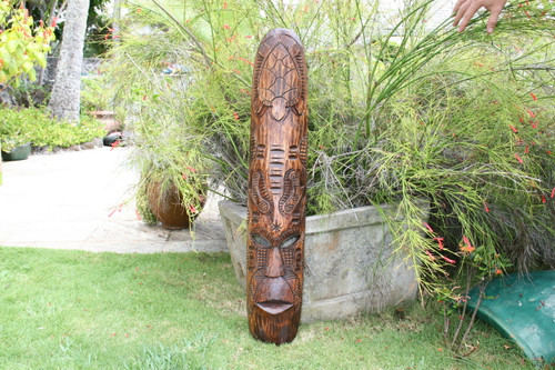 "FIJIAN TIKI MASK W/ TURTLE & NIFO OTI - 40"" - HAWAIIAN DECOR"