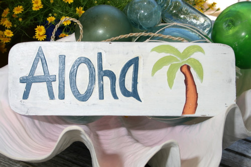 """ALOHA"" BEACH SIGN 14"" - COASTAL DECOR"
