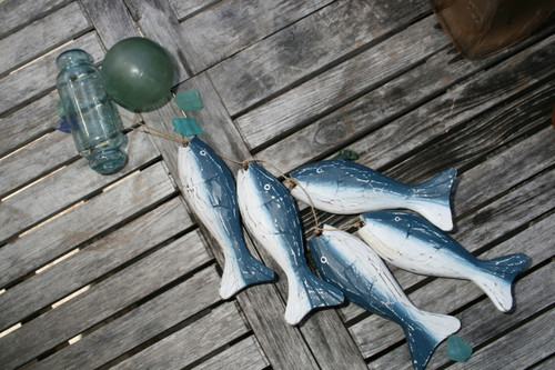 "HANGING ""FISH"" SET OF 5 - BLUE COASTAL - COASTAL DECOR"