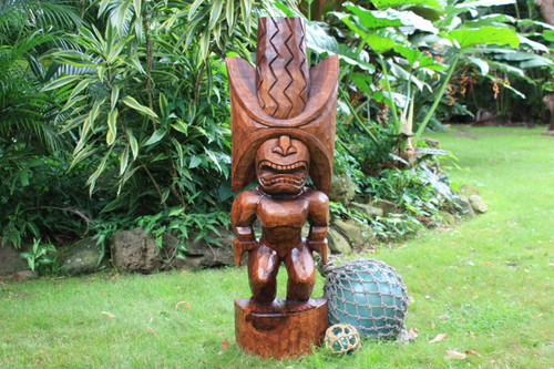 "Ku Kona-Style Tiki 48"" - Stained - Traditional Hawaii Museum Replica"