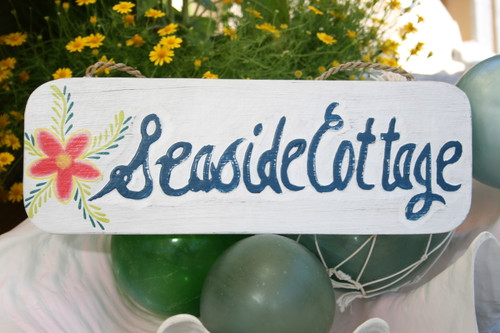 """SEASIDE COTTAGE"" BEACH SIGN 14"" - COASTAL DECOR"