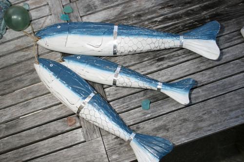 """HANGING LARGE """"FISH W/ NET"""" SET OF 3 - BLUE COASTAL - NAUTICAL DECOR"""