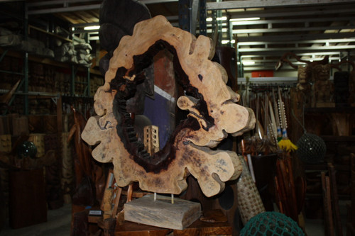 "SculptureTamarin Log Slice w/ Stand 40"" - Art Gallery Hawaii"