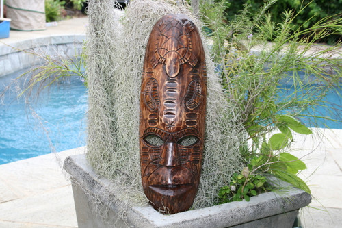 "FIJIAN TIKI MASK W/ TURTLE & NIFO OTI - 20"" - HAWAIIAN DECOR"