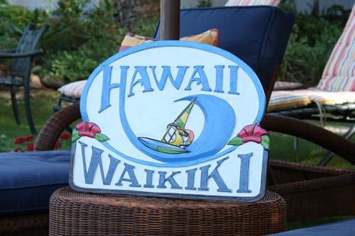 """Wooden Windsurf Sign """"Waikiki, Hawaii"""" 24 inch - Surf Decor"""