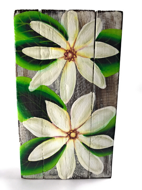 "Tiare Flower Painting on Wood Planks 8"" X 4.5"" Rustic Wall Decor 