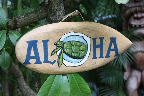 """ALOHA"" SURF SIGN 20"" W/ PAINTED & CARVED TURTLE 