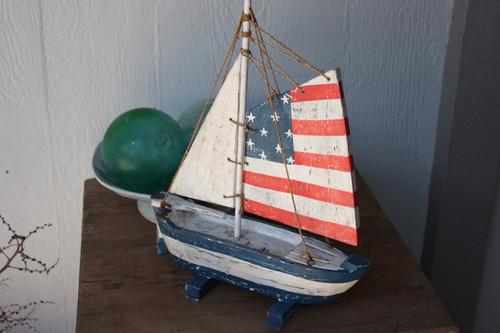 """Americana"" Sail Boat 16"" - Patriotic Theme 2"