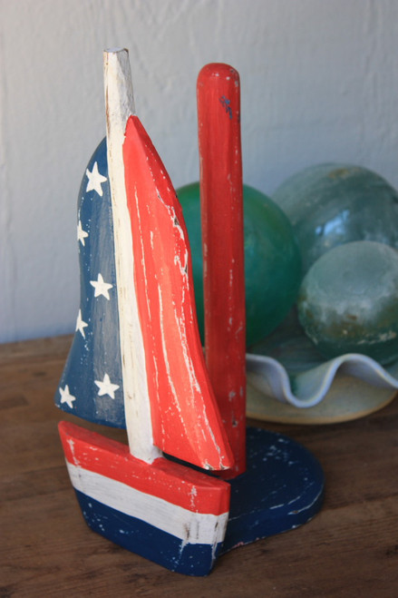 "USA ""Sailboat"" Americana Paper Towel Holder 16"" - Kitchen Decor"