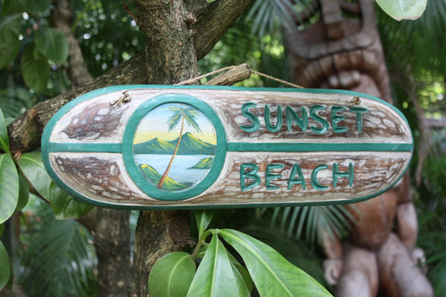 """SUNSET BEACH"" SURF SIGN 20"" - PAINTED SURF SCENE"