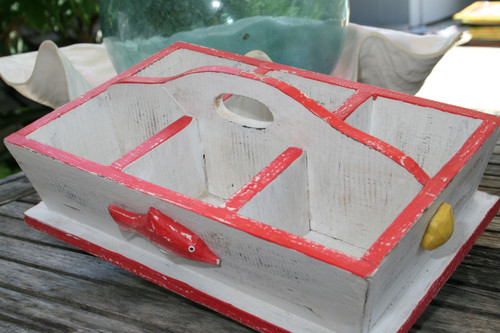 "DIVIDER TRAY 6 SECTIONS 16"" - RED NAUTICAL DECOR"