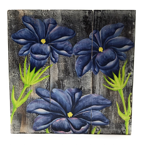 "Gentian Flower Painting on Wood Planks 12"" X 12"" Rustic Wall Decor 