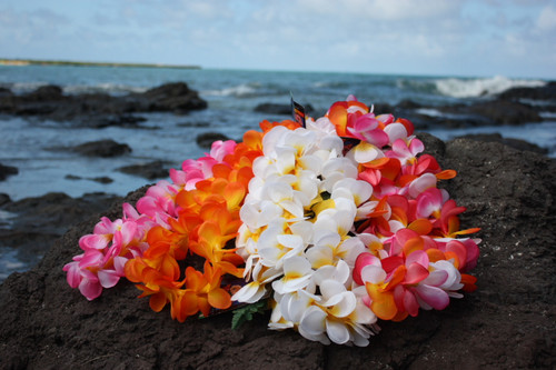 "Silk Leis Plumeria Assorted, 6 Pack 18"" - Hawaii Silk Leis"