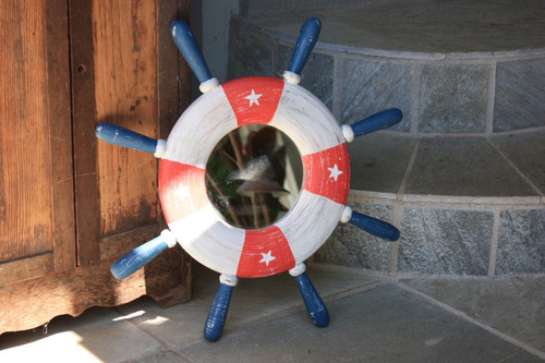 "Ship Wheel w/ Mirror Americana 20"" - USA Flag Decor"