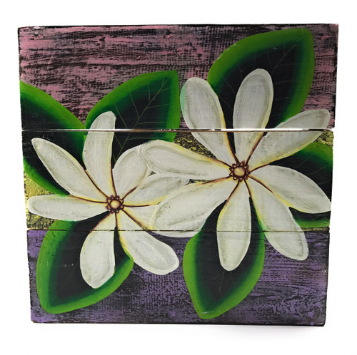 "Tiare Flower Painting on Wood Planks 12"" X 12"" Rustic Wall Decor 