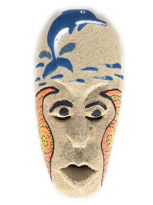 "Sand Tiki Mask 8"" w/ Dolphin - Decorative Primitive Art | #wib370720a"