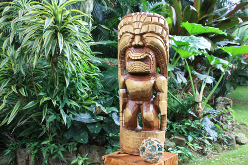 "Tiki God Of King Kamehameha 32"" - Kuka Ilimoku - Authentic 
