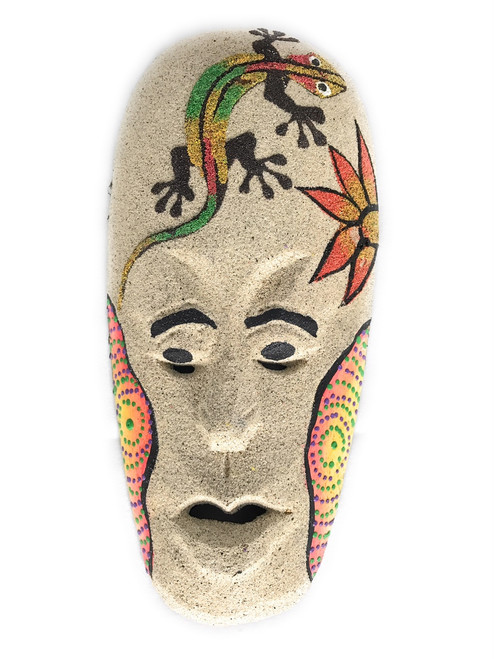 "Sand Tiki Mask 8"" w/ Gecko - Decorative Primitive Art 