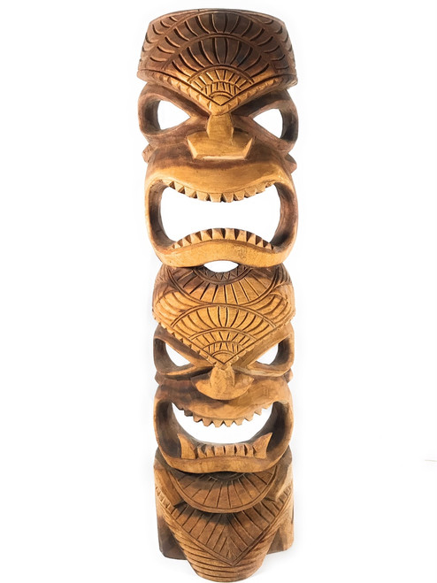"Premium Tiki Mask 40"" Love & Prosperity - Hand Carved 